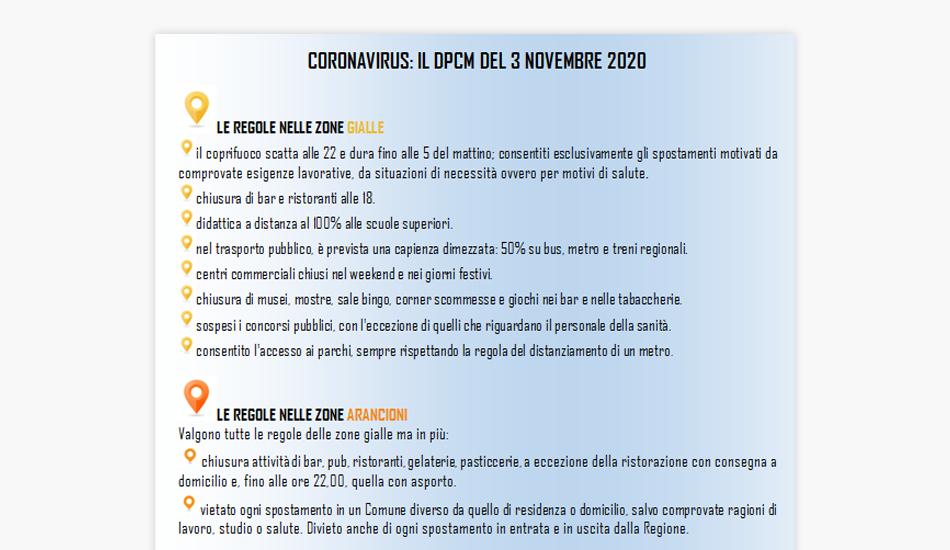 Coronavirus, il DPCM del 3 novembre, le regole e i divieti in Italia