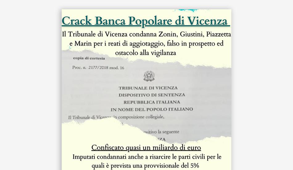 Crack BPV, il Tribunale di Vicenza condanna Zonin, Giustini, Piazzetta e Marin